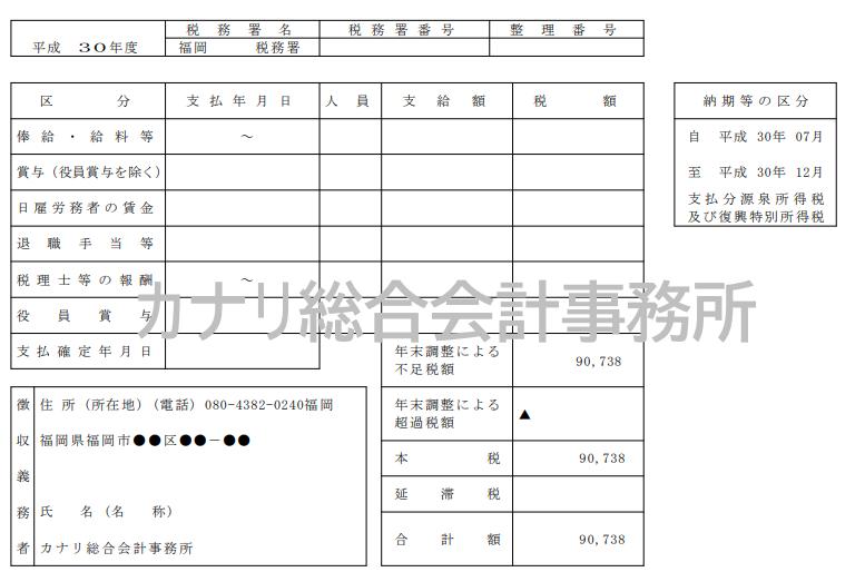 書 書き方 所得税 納付 源泉 源泉所得税の納付書の書き方について教えてください。